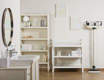 Empty Bathroom. An empty bathroom decorated in neutral tones.  Horizontally framed shot Royalty Free Stock Photography