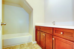 Empty bathroom interior with bright brown vanity cabine. Empty bathroom interior with vanity cabinet and bath tub with vaulted ceiling Royalty Free Stock Photos