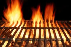 Empty BBQ Cast Iron Hot Grill With Burning Charcoal Fire Royalty Free Stock Image