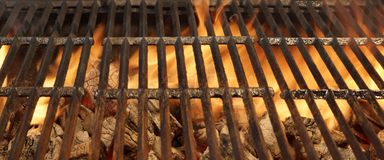 Empty BBQ Fire Grill And Burning Charcoal With Bright Flames. Stock Images
