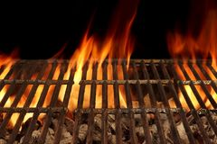 Empty BBQ Fire Grill And Burning Charcoal With Bright Flames. Stock Image
