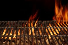 Empty BBQ Fire Grill And Burning Charcoal With Bright Flames. Stock Photos