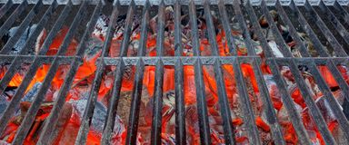 Empty BBQ Flaming Grill Background Stock Image