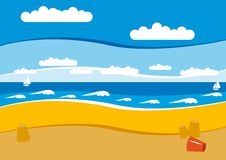 Empty beach. With yellow sand and blue sky and white waves Stock Photography