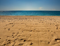 The empty beach. Empty beach with traces on sand under clear sky Stock Images