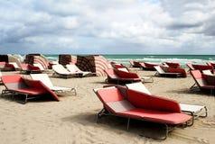 Empty beach. Chairs on the empty beach Stock Image