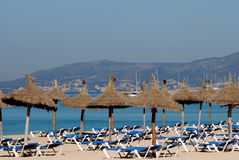 Empty Beach. Chairs waiting for a crowdy day Stock Image