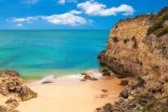 Empty Beach. And cliff tops on Praia de  Marinha Portugal Royalty Free Stock Photo