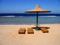Empty beach. Sunshade on an empty beach in egyt Stock Photography