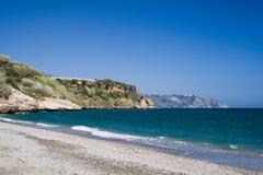 Empty Beach. Deserted mediterranean beach stock photography