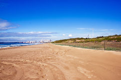 Empty Beach Against City Skyline in Durban South Africa Royalty Free Stock Images