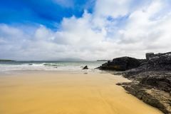 Empty beach with amazing sky landscape. In the scotland highlands stock photo