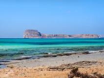 Empty beach and beautiful blue sea on the Balos beach. Overlooking the Gramvousa island stock photo
