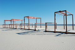 Empty Beach Cabanas Royalty Free Stock Photos