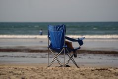 Empty Beach Chair Stock Image