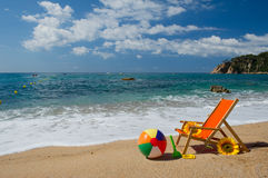 Empty beach chair Stock Images