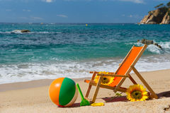 Empty beach chair Royalty Free Stock Photos