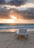 Empty beach chair before sea Stock Photography
