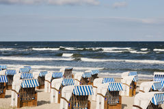 Empty beach chairs Stock Images