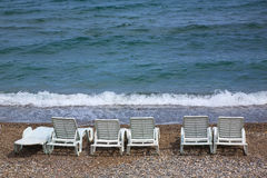 Empty beach chairs Royalty Free Stock Image