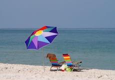 Empty beach chairs Royalty Free Stock Photo