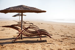 Empty beach chairs in a beach Stock Image
