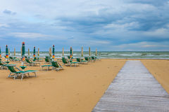 Empty beach. With chairs at Bibione in Italy Stock Photos