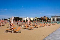 Empty beach. With chairs at Bibione in Italy Royalty Free Stock Image