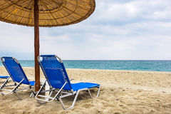 Empty beach chairs. Greece Stock Photos