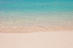 Empty beach with clear turquise water. And white pure sand Royalty Free Stock Images