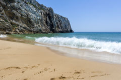 Empty beach and cliff in the Beliche beach, Sagres, Portugal Stock Image