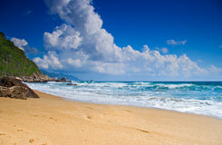 Empty beach with clouds. In Greece Royalty Free Stock Photography