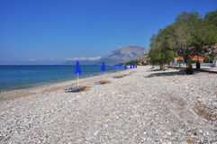 Empty beach on coast of samos, greece Stock Images