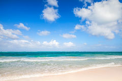 Empty beach coastal landscape. Atlantic ocean, Punta Cana Stock Image
