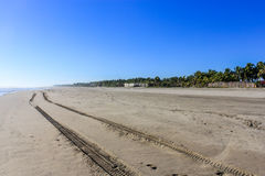 Empty beach. A completely empty beach with a set of tire tracks Stock Photo