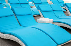 Empty beach couches at the beach Royalty Free Stock Photography