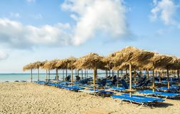 Empty beach early in the morning at Elafonisi Lagoon, Crete Island, Greece royalty free stock photo