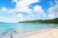 Empty beach in the early morning on St Thomas Island. Royalty Free Stock Images