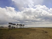 Empty beach. In Cambrils Spain Stock Image
