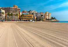 Empty beach of Finestrat in Benidorm Royalty Free Stock Images