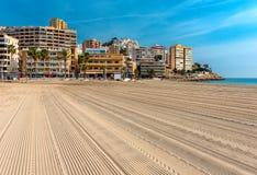 Empty beach of Finestrat in Benidorm Royalty Free Stock Images
