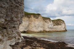 Empty beach on Flamborough Head, Bridlington in Yorkshire, Engla. Flamborough North West or Flamborough Head is a Sand and pebble beach located near Bridlington Stock Photography