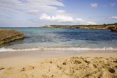 Empty beach and footprints. Beautiful beach of cala Tarida,ibiza,spain Royalty Free Stock Photos