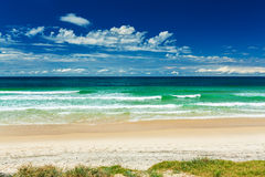 Empty beach with grass strip and breaking waves, Gold Coast Stock Photos