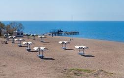 Empty beach at Issyk-Kul Lake Royalty Free Stock Photo