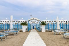 Empty beach, Italy, Riccione royalty free stock image