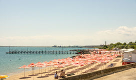 Empty beach in June at Ravda, Bulgaria. Ravda - ancient Bulgarian seaside town famous discoveries of ancient Slavic settlements. Located on the past in the Black stock image
