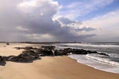 Empty beach. Leca da Palmeira empty beach, north of Portugal. Surf point Stock Images