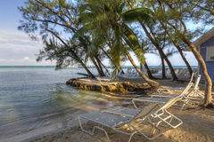 Empty Beach Loungers Stock Photography