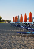 Empty beach with loungers Royalty Free Stock Images